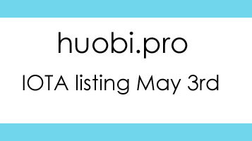 Huobi.pro Lists IOTA On May 3rd 2018 (GMT+8)