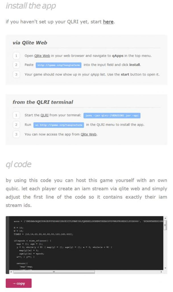 Installation guide Screenshot for Tangle Farm from Qame.org