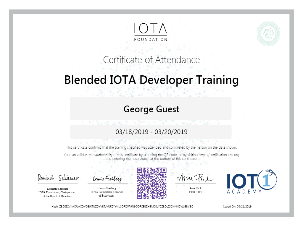 IOTA Entwickler Training Zertifikat Screenshot