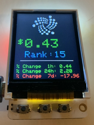IOTA Price Ticker TTGO TS 1.8""